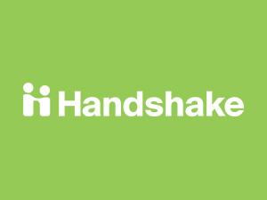 Handshake logo on green background