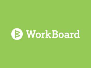 Workboard logo on green background
